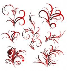 set of flower pattern tattoo vector image