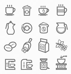 Coffee symbol line icon set vector image vector image