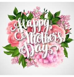 Happy Mothers Day Card with beautiful flowers vector image