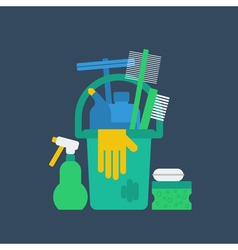 Products for cleaning home house chores bucket and vector