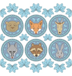 set of six labels with muzzles of animals vector image