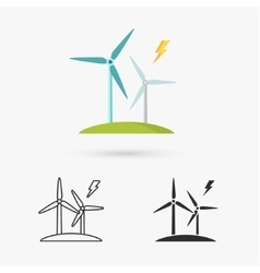 Windmills for electric power production vector image
