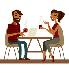 Young couple in a cafe vector image
