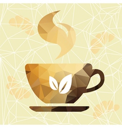 Abstract cup of coffee on a geometric background vector image vector image