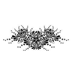 Black and white lace flowers and leaves isolated vector image