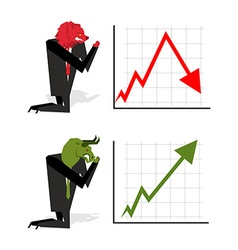 Bull and Bear pray to bet on stock exchangeGreen vector image