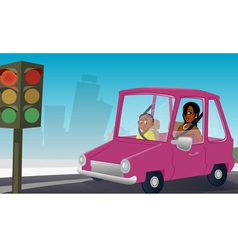 car passengers stopsign vector image vector image