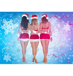 Three sexy women in santa clothing vector image vector image