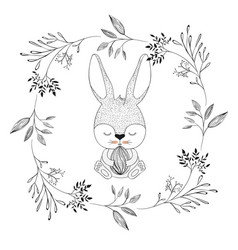 bunny with closed eyes and holding easter egg in vector image