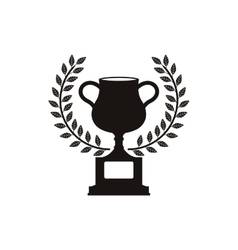monochrome trophy cup with olive crown vector image vector image