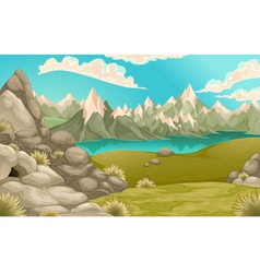 Mountain landscape with lake vector image vector image