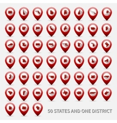 Set of US states maps United America 50 and 1 vector image