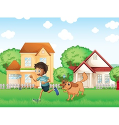 A boy playing with his dog vector image vector image