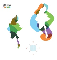 Abstract color map of burma vector