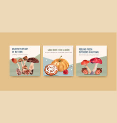 ads template with autumn daily concept design vector image