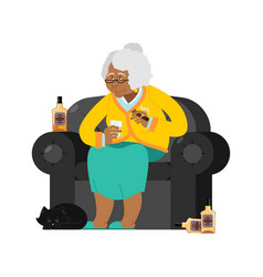 African american grandmother drinks alcohol smoke vector