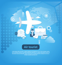 air tourist web banner with copy space on blue vector image