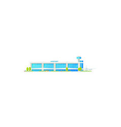 Airport building terminal traffic control tower vector