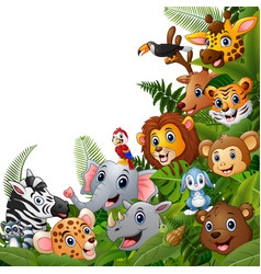 animals forest cartoons meet together vector image