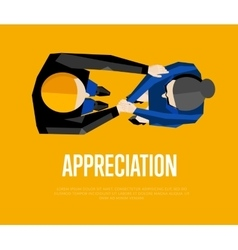 Appreciation banner Top view partners handshaking vector
