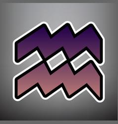 aquarius sign violet vector image
