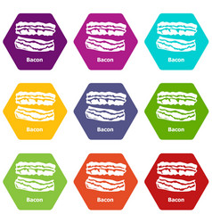 bacon icons set 9 vector image