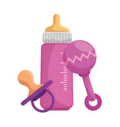 bamilk bottle with pacifier and maraca vector image