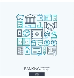 Banking integrated thin line symbols Modern vector image