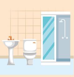 Bathroom scene isolated icon vector