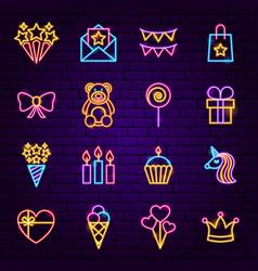 birthday neon icons vector image