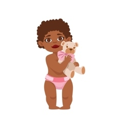Black toddler girl with teddy bear in dieaper vector