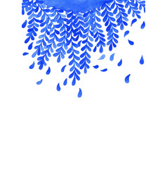 blue fern leaf watercolor hand painting vector image
