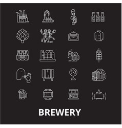 brewery editable line icons set on black vector image