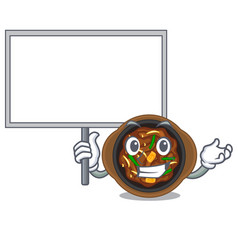 Bring board bulgogi is served on mascot plate vector