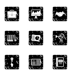 Business icons set grunge style vector