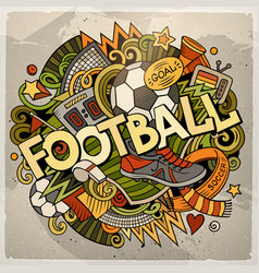 cartoon cute doodles hand drawn football vector image