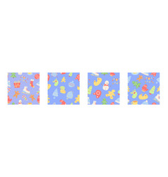 christmas holiday abstract seamless pattern set vector image