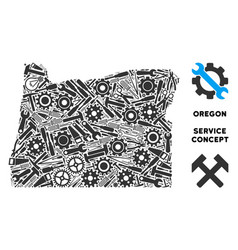 Collage oregon state map of repair tools vector