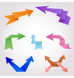 colorful origami arrows made folding paper vector image
