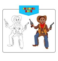 Coloring book Cowboy vector image