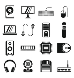 Computer icons set simple style vector image
