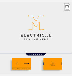 Connect or electrical m logo design icon element vector