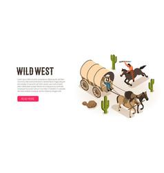cowboy isometric horizontal banner vector image