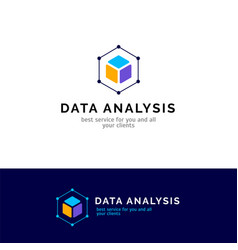 Cube abstract logo design data analysis vector