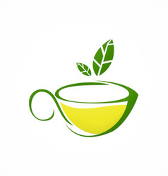 Cup tea green tea herbal logo vector