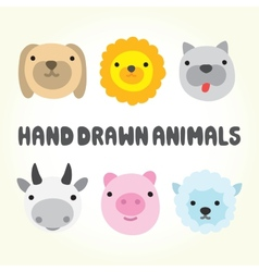 Cute cartoon animal heads vector image