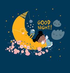 cute girl sleeping on moon among stars vector image