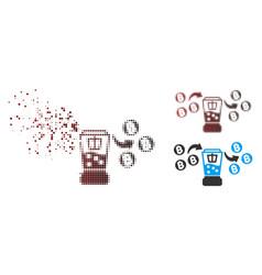 Damaged pixel halftone bitcoin mixing service icon vector