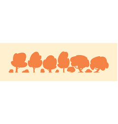 different trees silhouettes cartoon set vector image