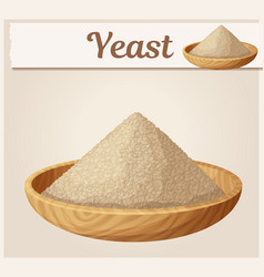 Dry yeast in wooden plate cartoon vector